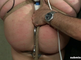 Amateur slave anal fisting while hogtied upside down