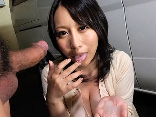 Buxom Japanese babe Yuna Hoshizaki swallows a raging fuck st