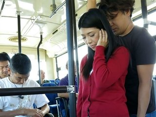 Asian brunette, Aimi Nagano got fucked in the bus, uncens