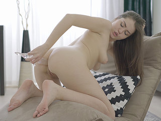 Chick caresses her body before getting solo orgasm.
