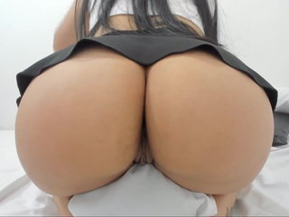 Brief mini-skirt wondrous girl with big backside and slit plunged toy