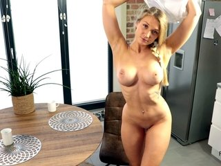 Blonde honey gets fucked to ejaculation on the kitchen table