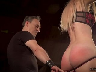 Big globes ash-blonde disciplined and abased in bondage sex