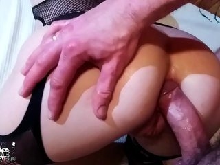 Kinky Black-haired Deepthroat and Donk Pulverize with Buttfuck Plug in Underwear