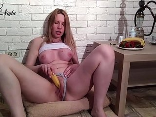 Lewd Schoolgirl Plays with Food and Cock-squeezing Labia - Sensuous Solo