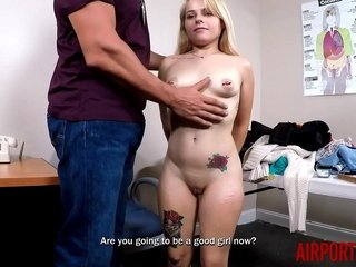 Barelely Barely legal Lil Blonde Teen Fucked by Airport Security