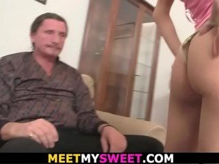 Family Threesome with his aged parents and diminutive girlfriend
