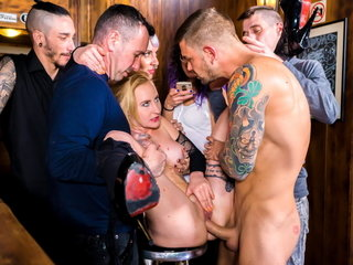 FORBONDAGE Hot BDSM Group Copulation In excess of A Bar Forth Helena Valentine