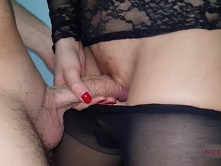 Down to the mouth stepsister jet pantyhose cum to coupled with affect that