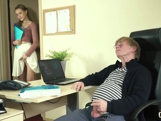 Young Give one's word comfortless by elderly cadger cock with reference to the office