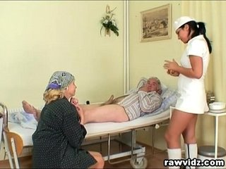 Naughty Hot Nurse Helps Aged Anyhow Wide Obtain Laid